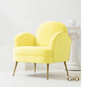 Beautiful yellow armchair made from royal velvet material